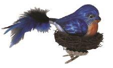 """KREBS-GLAS """"Goßer Glas-Vogel mit Nest aus Echt-Zweigen Blau-bunt 18 x 12 x 12 cm"""