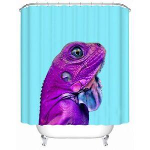 Purple Lizard Tropical Animal Modern Bathroom Waterproof Bath Shower Curtain