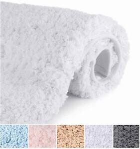 Bathroom Rugs Microfiber Plush Bath Mat Machine Washable, Slip Resistance Rubber