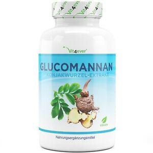 Glucomannan + Chrom 180 Kapseln (vegan) - Hochdosiert - Sättigung Diät abnehmen