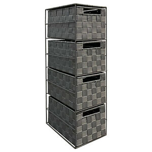 Arpan grey 4 drawer nylon storage cabinet unit