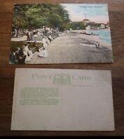 OLD USA AMERICAN POSTCARD, HONOLULU HAWAII, WAIKIKI BEACH FRONT c1900