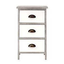 Urban Loft 3 Drawer Wooden Storage Chest Small White Grey Bedside Furniture Unit