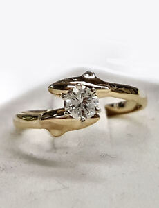 Dolphin Engagement Ring, 2 Dolphins with 25pt. Diamond in Center, 14kt Gold