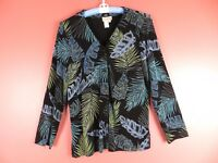 STK1683- COLDWATER CREEK Woman Slinky Knit Front Button Jacket Multi-Color Sz M