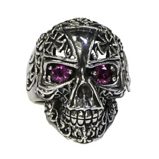 Iron Cross Skull Ring .925 silver Biker Metal Gothic Celtic Pagan feeanddave