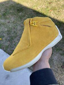NEW Men's Nike Air Jordan 18 Retro Yellow Ochre Sail Suede AA2494-701 Size 9
