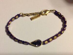"SILPADA - KRB0064 - Cord Swarovski Crystals Brass ""Violet Gem"" Bracelet - NIB!"