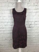H&M Womens Burgundy Sleeveless Floral Print Back Zip Smart Pencil Dress Size 12