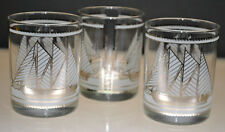 VINTAGE GEORGES BRIARD SAILBOAT NAUTICAL DESIGN SILVER TONE GLASSES (SET OF 3)