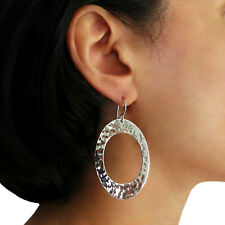 Oval Hoops 925 Sterling Hammered Silver Long Earrings Gift Boxed
