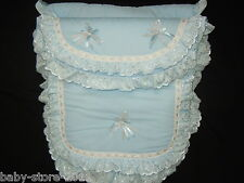 BEAUTIFUL. PRAM  COSYTOES  / FOOTMUFF.  ROMANY. STYLE. BLING BABY BLUE / SILVER