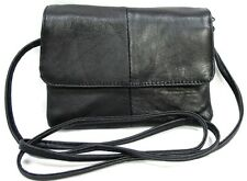 4 Pocket Soft Lambskin Leather Small Soulder Purse Light Slim Belt Loop Black