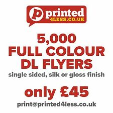 5000 1/3 A4 DL FLYERS SINGLE SIDED PRINTED FULL COLOUR 135GSM 130 A5 A6 LEAFLET
