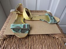 Size 37 TED BAKER London Yellow + Green Color Block Flat Sandals Snakeskin