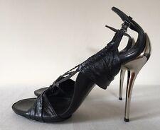 Fendi Black Nappa Leather and Chrome Stiletto EU 39