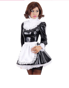 NEW Black PVC lockable Sissy Maid Dress cosplay costume Tailor-made