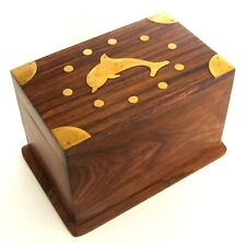 Puzzle Box from India - Dolphin Lid - Sheesham Wood - Secret Trick Jewelry Boxes