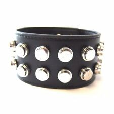 J-279205 New Saint Laurent Black Leather & Silver Stud Bracelet Jewelry