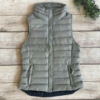 Gap Womens Down Puffer Vest Size Small Packable Snap Zip Gray Blue Quilted