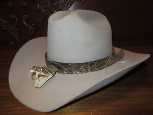 WESTERN DIAMONDBACK RATTLESNAKE HAT BAND WITH HEAD & RATTLES