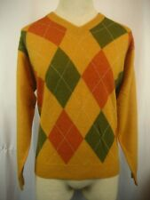 Mens Bullock & Jones (Scotland) Merino/Angora Blend V-Neck Argyle Sweater sz M