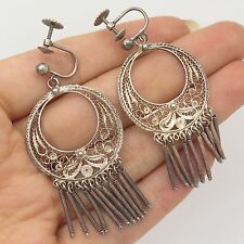 Vtg 925 Sterling Silver Large Filigree Handmade Dangling French Back Earrings