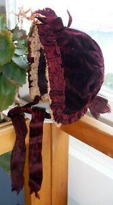 Antique Victorian Beautiful Baby or Doll Bonnet Burgundy Red Velvet P522