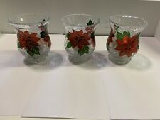 Three Crackle Glass Candle Holders Brand New In Box
