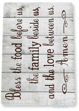 Bless Family Food Love Kitchen Cottage Beach Farm Rustic Metal Tin Sign B806