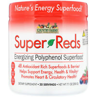 Country Farms  Super Reds  Energizing Polyphenol Superfood  Berry Flavor  7 1 oz