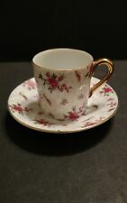 "Vintage ""INARCO""  E-728 Pink Tea Rose with Gold Trim Demitasse Cup/Saucer"