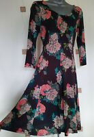 DRESS 8 36 SMALL S STRETCH FLORAL FIT & FLARE BOHO GYPSY HIPPY QUIRKY FAT FACE