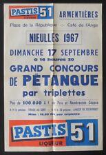 Affiche 1967 Concours de pétanque ARMENTIERES NIEULLES Pastis 51 poster