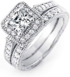 Estate 1 Carat Princess Cut Bridal Wedding Ring Set