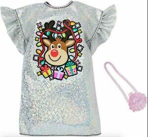 Mattel Barbie Silver Rudolph Christmas Holiday Dress Fashion Pack 2019, NIB