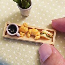 Dollhouse Miniatures Food Bakery Coffee Tea Cup Breakfast Set Mini Tiny Decor