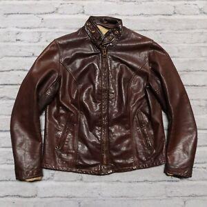 Vintage Schott Leather Cafe Racer Motorcycle Jacket Womens Biker Brown