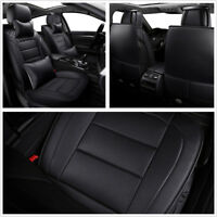 Black PU Leather Car Sedon Front + Rear Full Set Seat Covers Styling Accessories