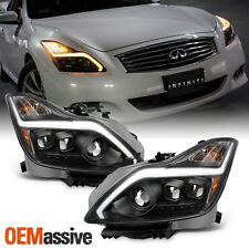 [Black]Fits 2008-2015 G37 / Q60 Coupe Switchback LED Signal Projector Headlights