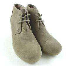 TOMS Women Size 5 Desert Taupe Suede Wedge Booties Shoes