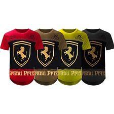 NEW Men Ferrari Shirt Side Zipper Longline Shirts 3D Gold Foil 4 Colors S-2XL