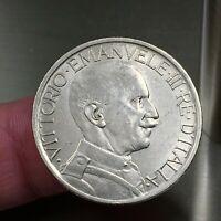 1923R Italy 2 Lire Coin, Vittorio Emanuele III, KM# 63, AU