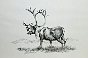 Vintage Bill Devine signed 1972 Alaska Kiana Art Handcrafted Etching Elk