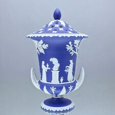 Wedgwood um 1820: grosse Potpourri Vase, Reliefs, Jasperware Blau, Campaner, dip