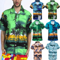 Summer Men Hawaiian Print Short T-Shirt Sports Beach Quick Dry Blouse Top Blouse