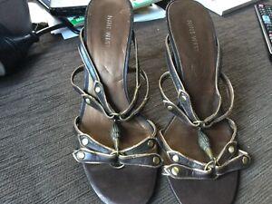 Nine West brown embellished dress heels size 7.5M inner sole 24.5cm Hardly used