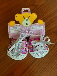 BABW Build A Bear Workshop Shoes Sketchers TWINKLE TOES Rhinestones GLITTER Pink