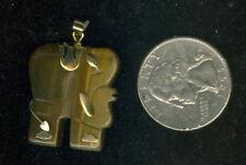 "Natural Tigereye / Tiger Eye Elephant Pendant ~  Gold Tone Appx 25mm x 25mm (1"")"