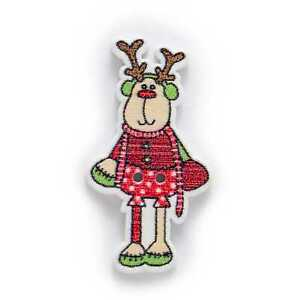10pcs Christmas Series Elk Wood Buttons Sewing Scrapbook Handwork Decor 35x19mm